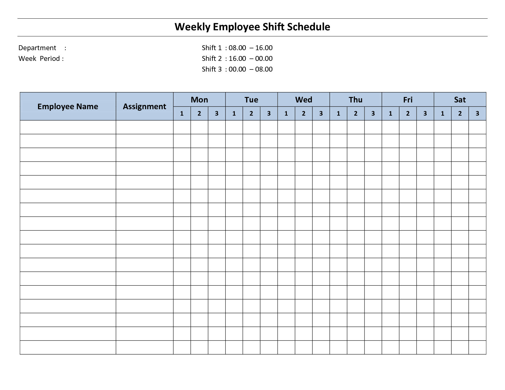 Free Printable Employee Work Schedules