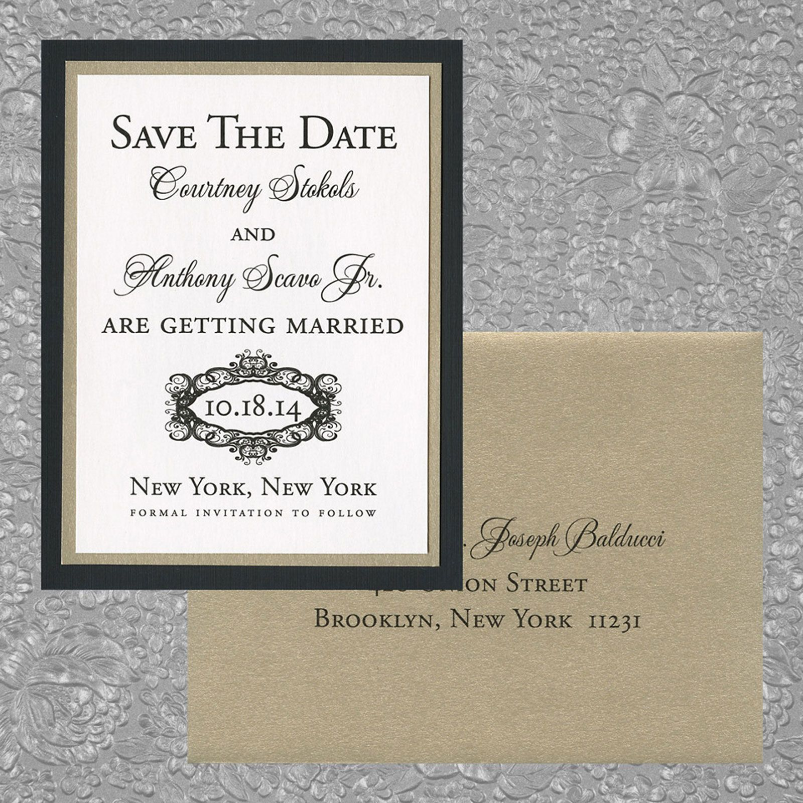 three layer save the date, black linen paper, gold leaf metallic ...