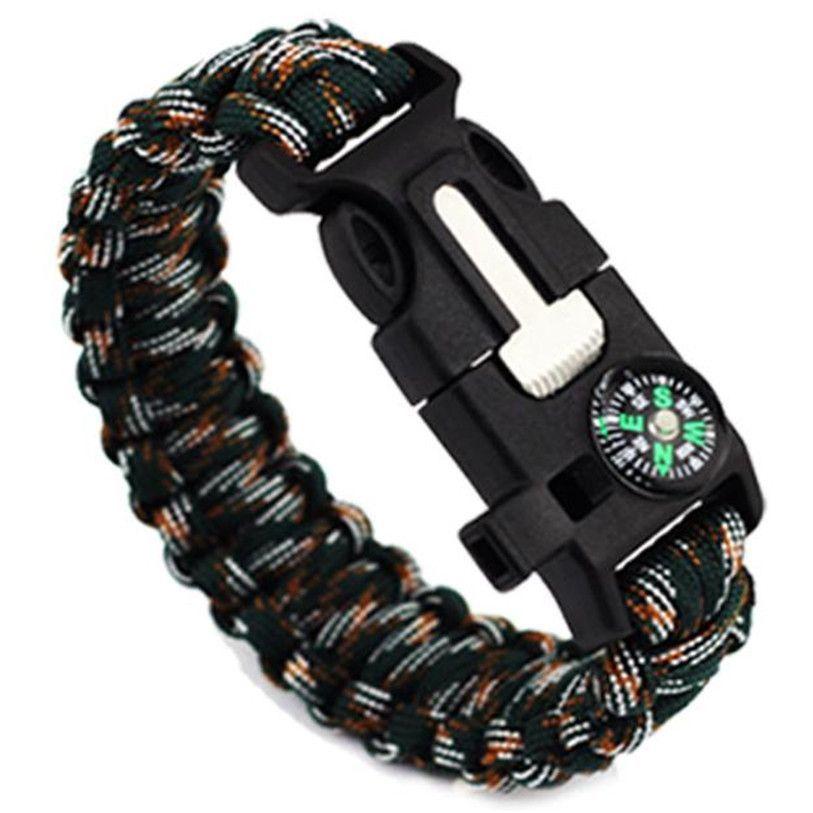 5 in 1 Outdoor Paracord Survival Gear Bracelet w/Flint, Whistle, & Compass