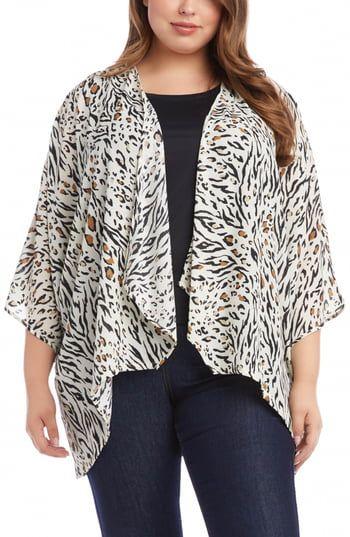 Photo of Enjoy exclusive for Karen Kane Mixed Animal Print Waterfall Lapel Jacket (Plus Size) online – Looknewclothing