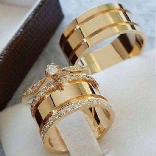 Diamond Wedding 14K Yellow Gold FN Trio His Her Bridal Band Engagement Ring Set