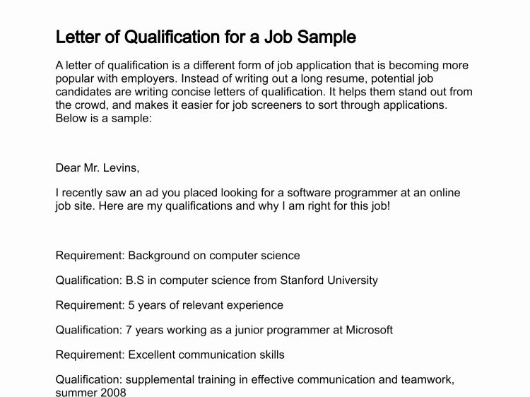 Statement Of Qualifications Example Letter Inspirational Letter Of Qualification Qualifications Job Letter Personal Mission Statement
