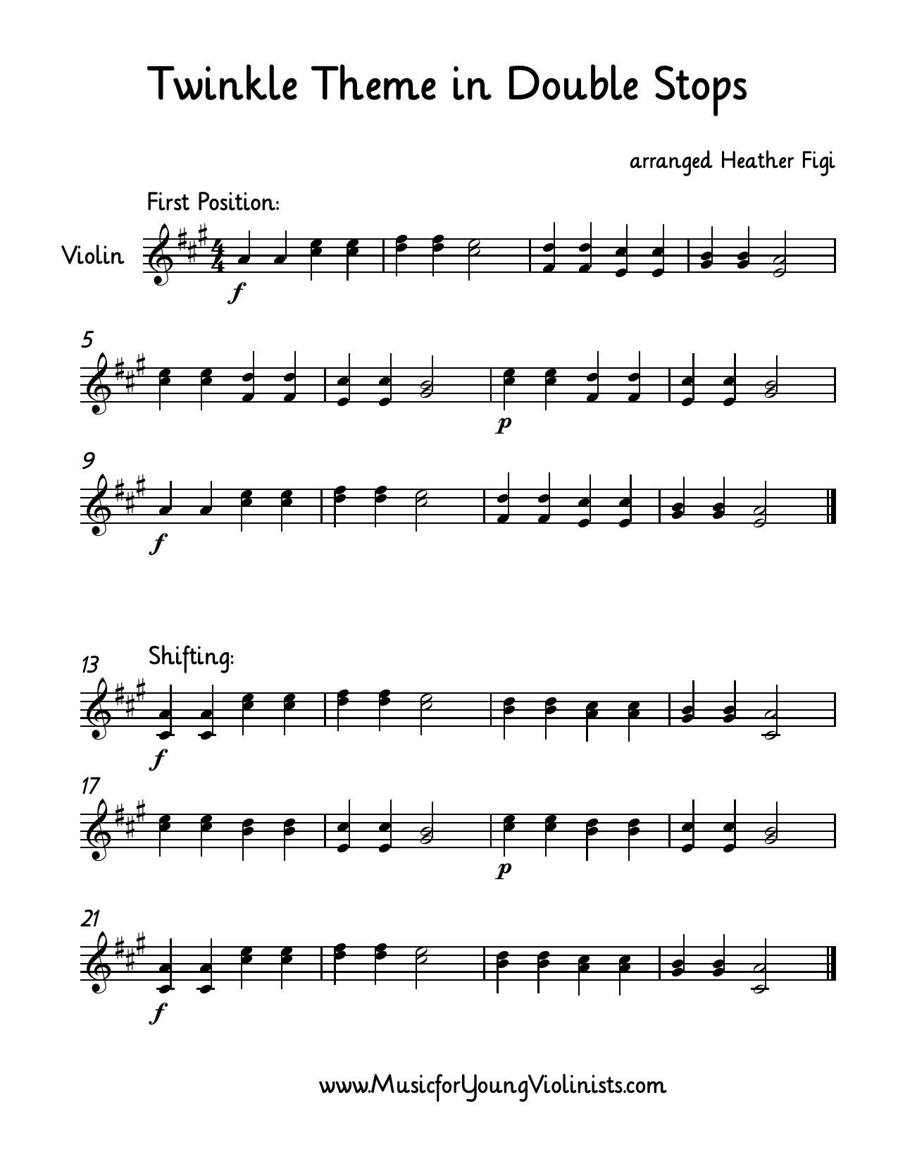 Free Sheet Music (Violin): Twinkle Theme arranged with