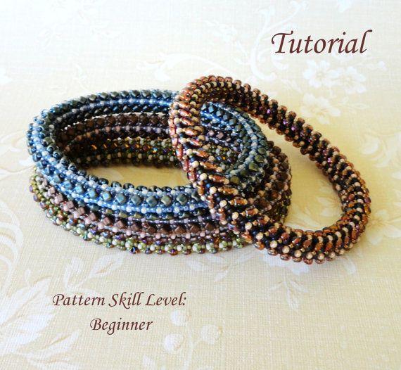 EASY BANGLE beaded bracelet beading tutorial by PeyoteBeadArt
