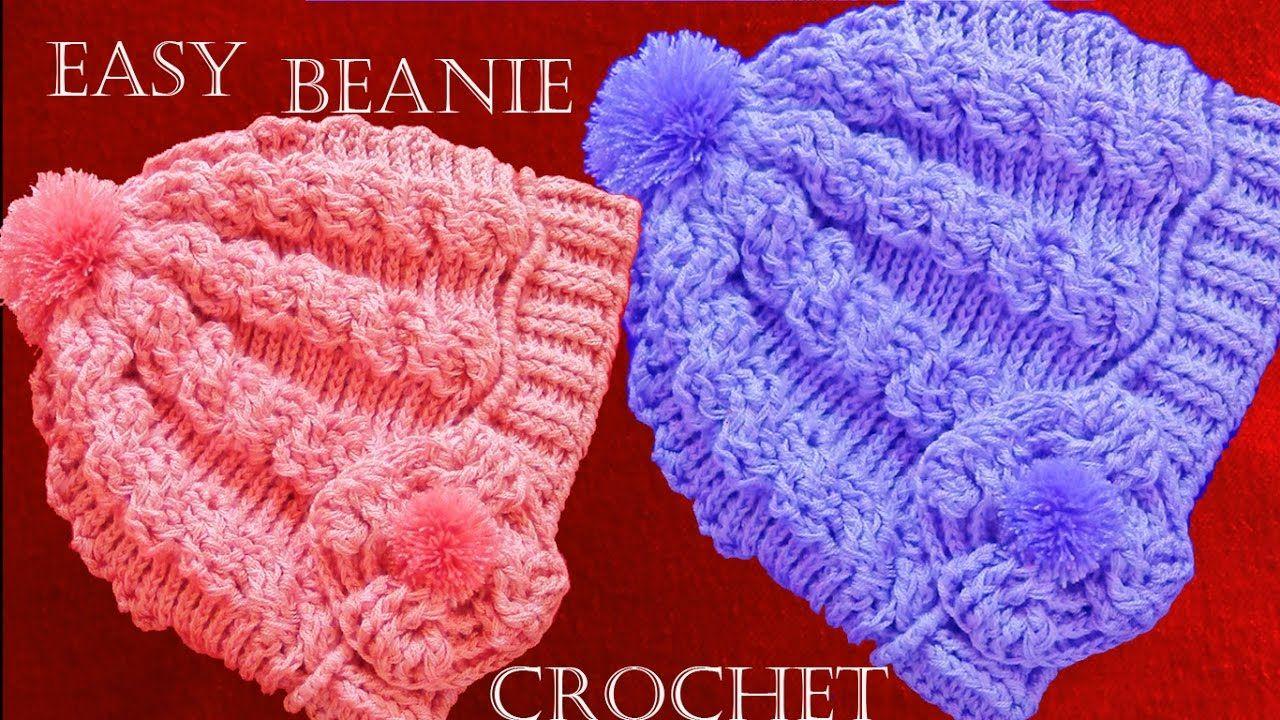 Como tejer gorro boina a Crochet o Ganchillo trenzas en relieve ... 61c1060545a
