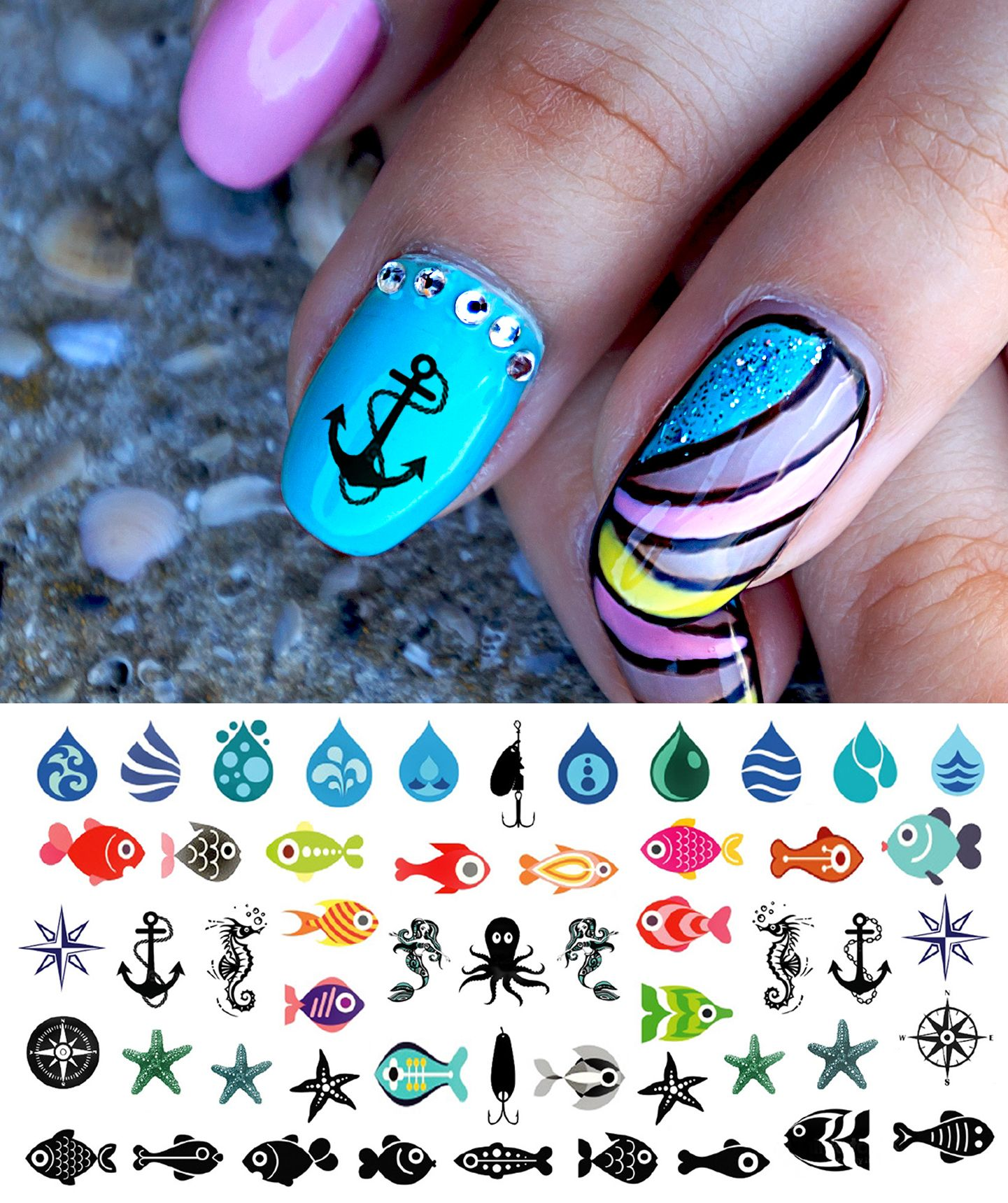 Pin by Moon Sugar Decals on Nautical Nail Art Decals  Pinterest
