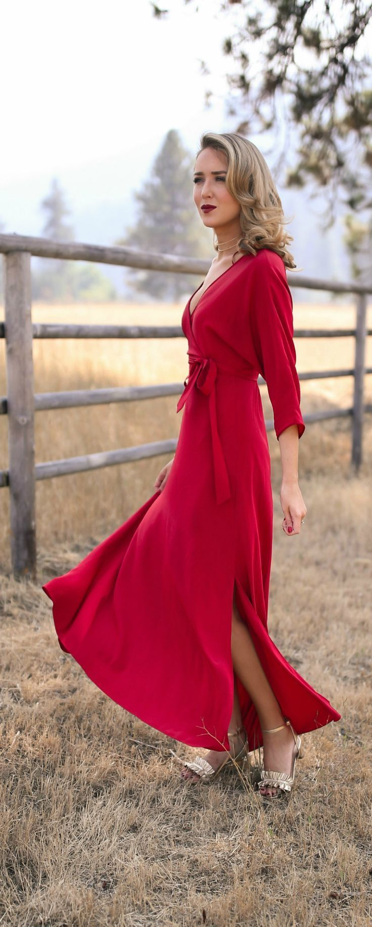 What to Wear to Fall Weddings // Red floor-length wrap dress, gold ...