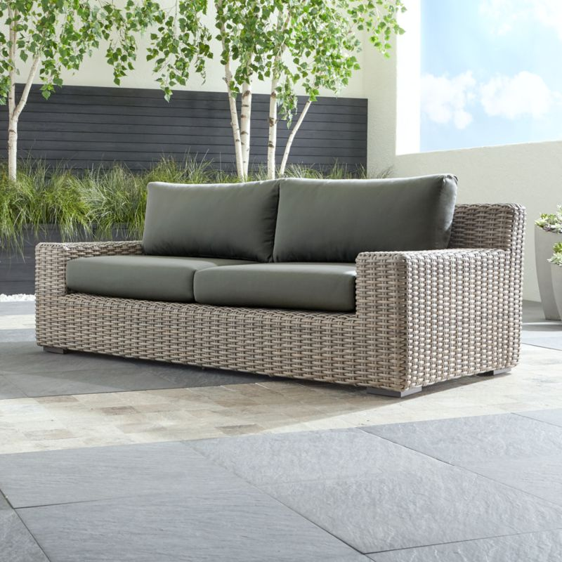 Cayman Outdoor Sofa With Graphite Sunbrella Cushions Reviews
