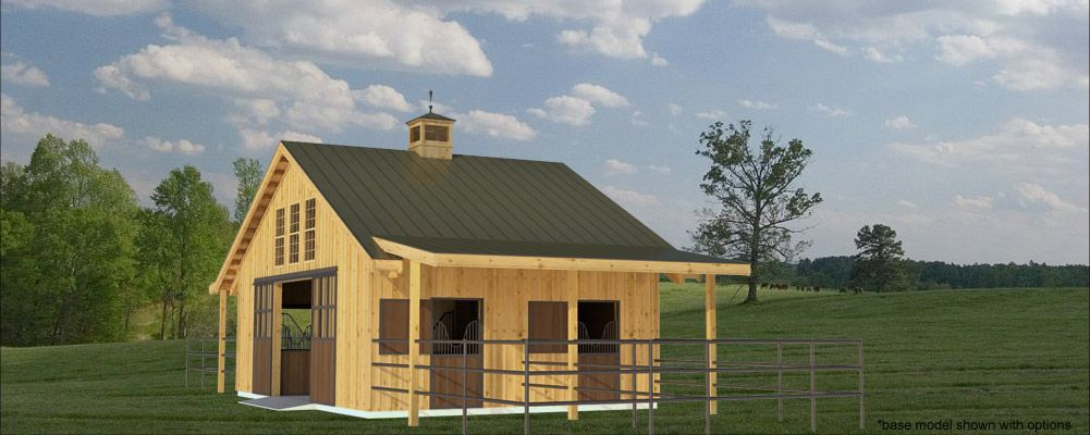 Liberty is a 3 stall center aisle pole barn this is what for Small metal barns