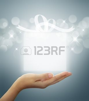woman with gift box: gift box Translucent white on woman hand