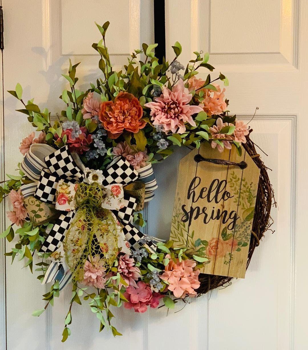 Spring Grapevine Wreath Spring Front Door Wreath Spring Etsy Spring Door Wreaths Front Door Wreaths Diy Diy Spring Wreath