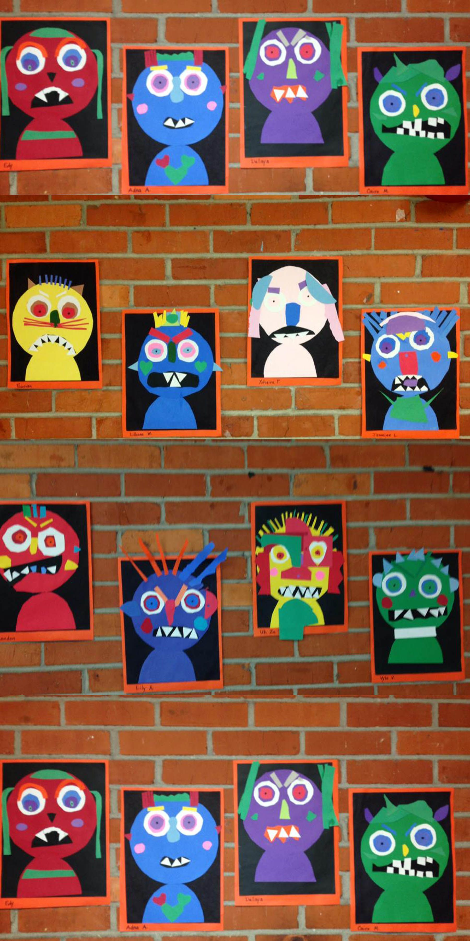 Shape Monsters Students Can Describe Using Shape Names Characteristics Such As Number Of Ve Elementary Art Projects Kindergarten Art Kindergarten Art Lessons
