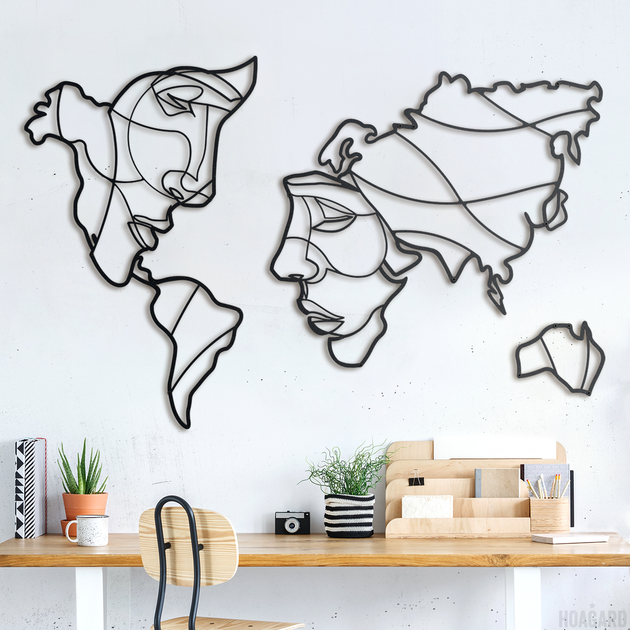 Wall art decoration set of 5 Picture Abstract world map Canvas PVC Size S//L