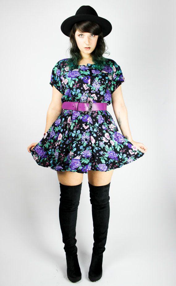 Vintage Dress Flower Child S M Fl Spring Y Grunge Alternative Colorful 80