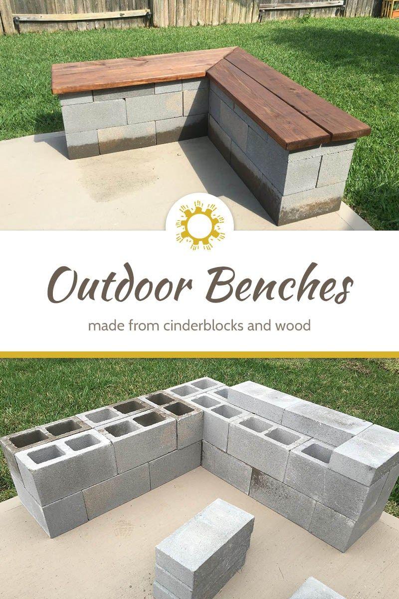 Cinderblock Outdoor Benches
