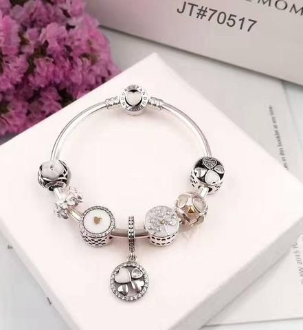 Crystal white love theme pandora charm bracelet - Xingjewelry 9a2ee9c935f