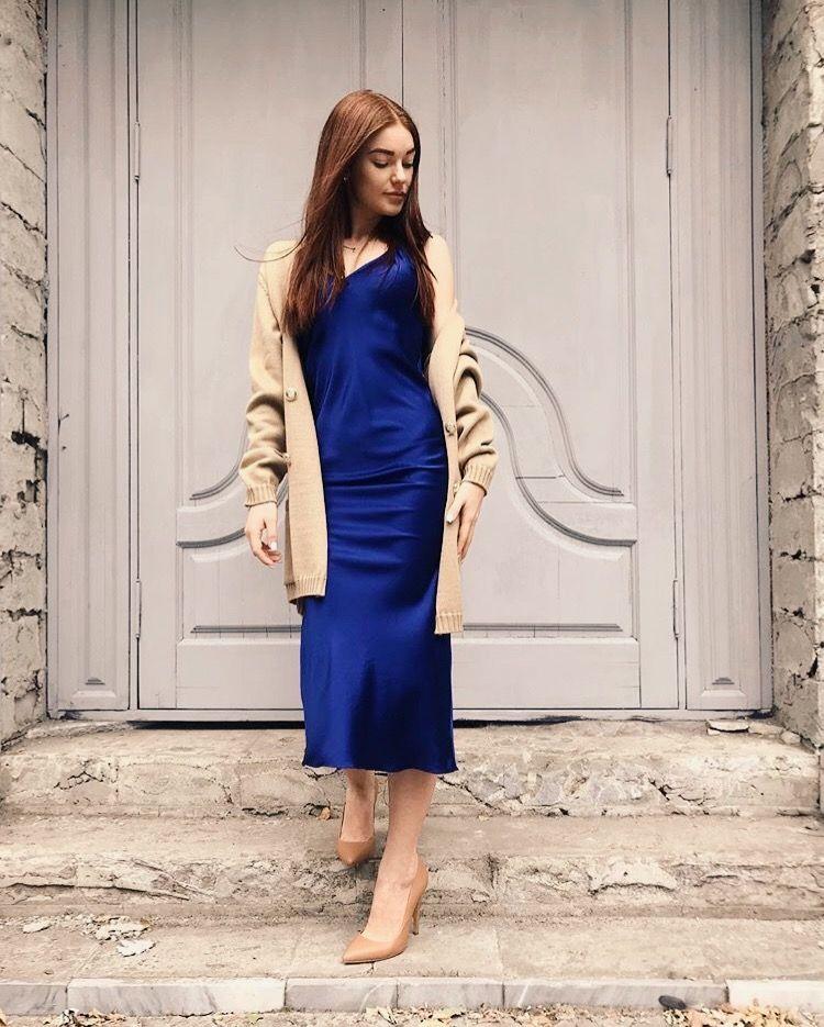 Cowl neck silk slip dress midi Silk slip bias dress gray