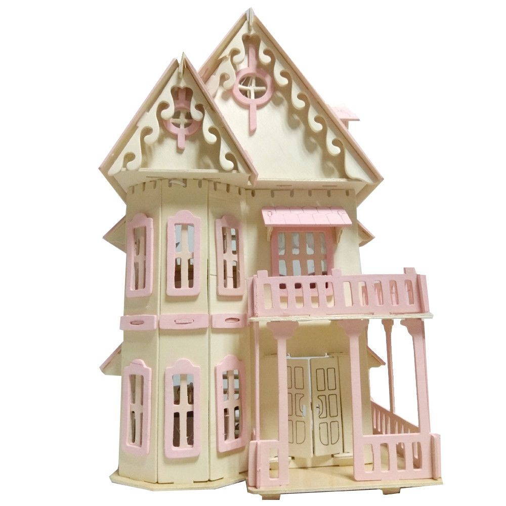 Wooden Dollhouse Fashion Furniture For Girls Big Size Castle