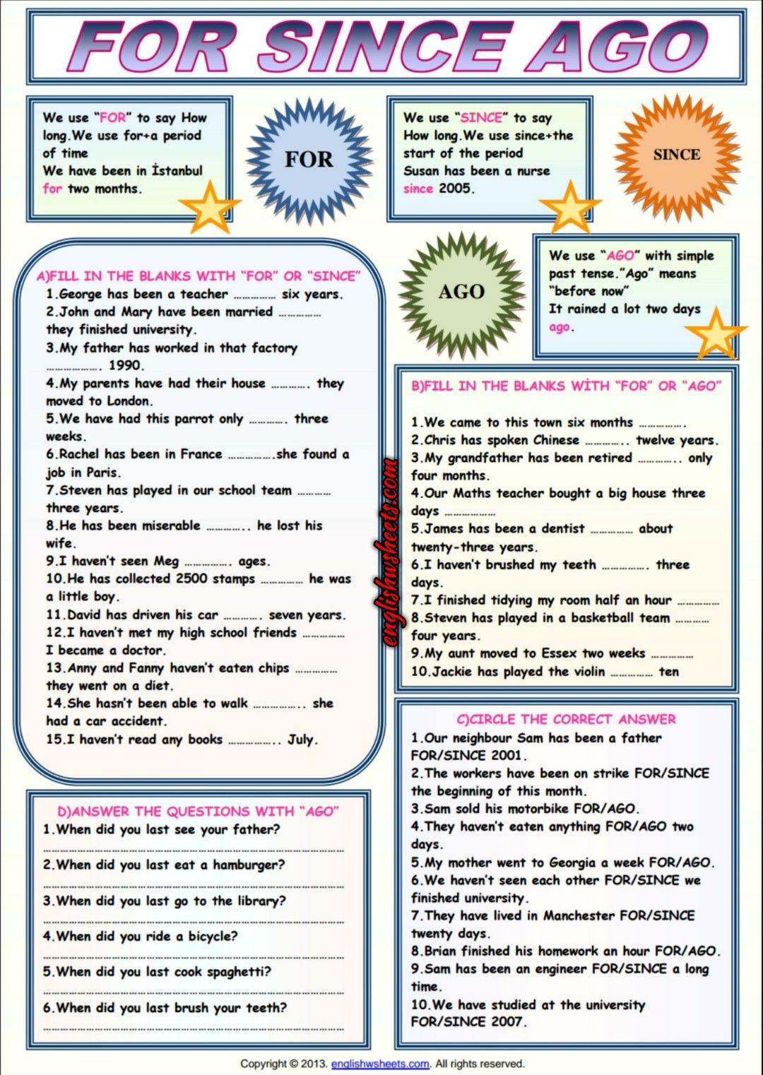 For Since Ago ESL Grammar Exercises Worksheet | english news words ...