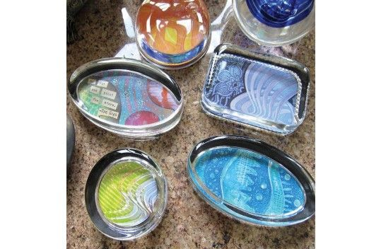 Gelli Print Glass Paperweights
