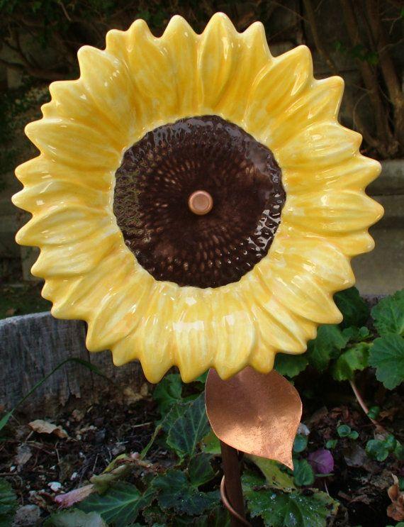 Ceramic And Copper Sunflower Garden Stake Stake By CDJ4Ceramics