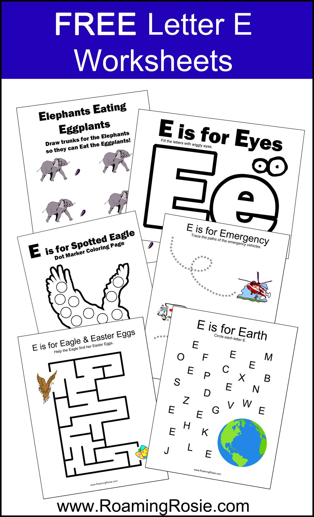 Letter E Free Alphabet Worksheets for Kids Letter e