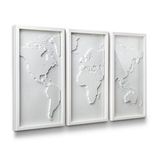 Umbra 470180 660 mapster wall decor set of 3 interesante white world map biaa mapa wiata gumiabroncs Choice Image