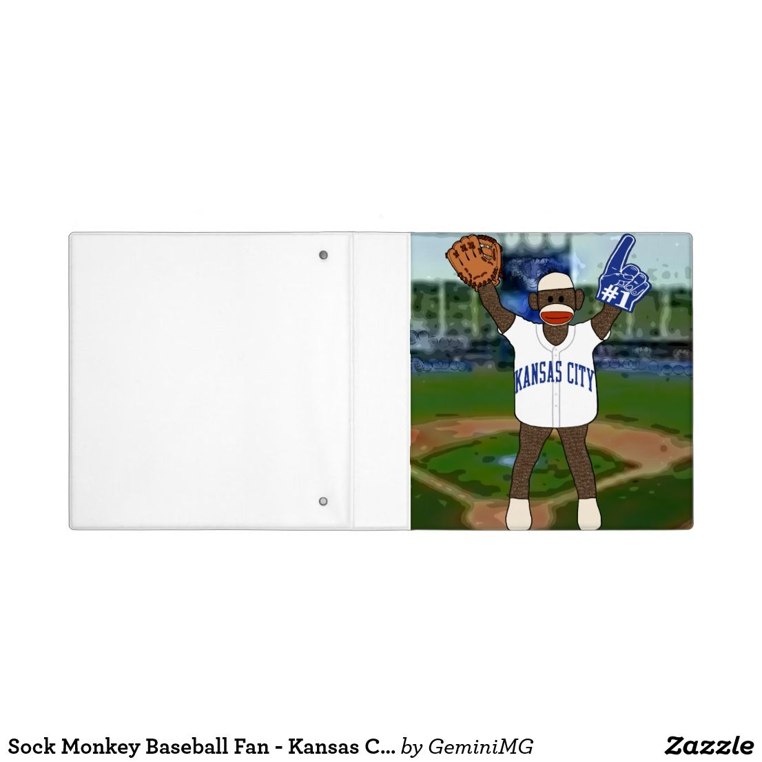 Sock Monkey Baseball Fan - Kansas City 3 Ring Binder | Zazzle.com #sockmoneky