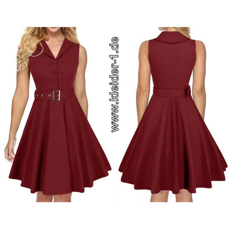 Rockabilly Vintage Sommerkleid 2020 In Weinrot In 2020 Sommerkleid Kleider Rockabilly Vintage