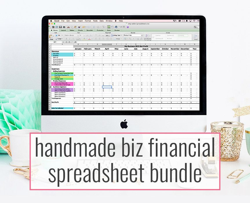 Handmade Biz Financial Spreadsheet bundle - monthly bookkeeping ...