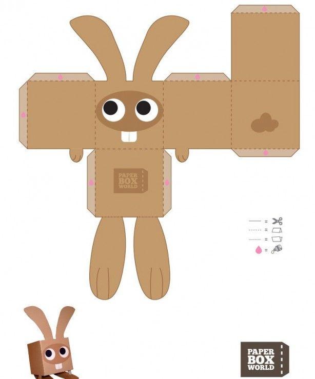 makkelijke bouwplaat van een konijntje kinderen kids pinterest cole l mentaire boite et. Black Bedroom Furniture Sets. Home Design Ideas