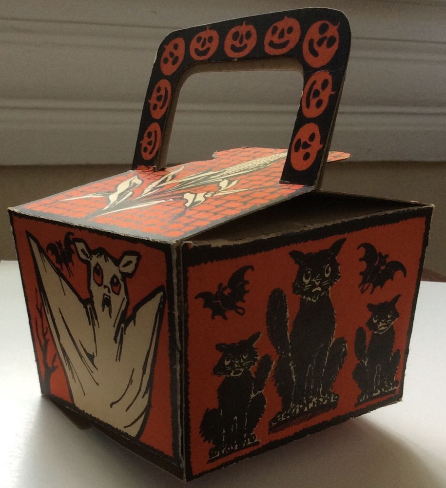 Halloween Beistle Rare Antique Nut Candy Basket 1920 Witch