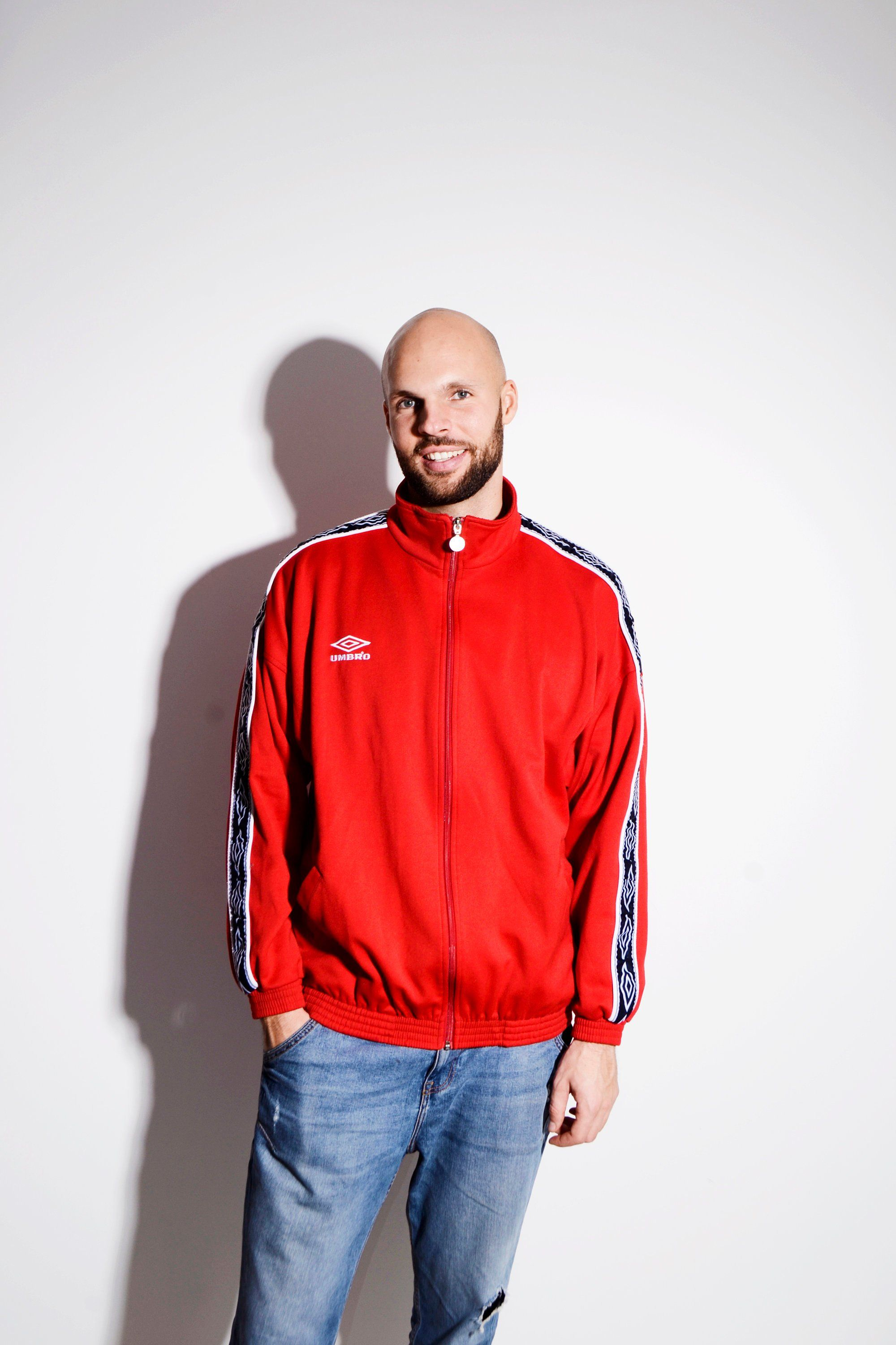 f80db5b867 UMBRO vintage red tracksuit top jacket | 2000's style festival full zip  sport jacket online store for men | Size - XL