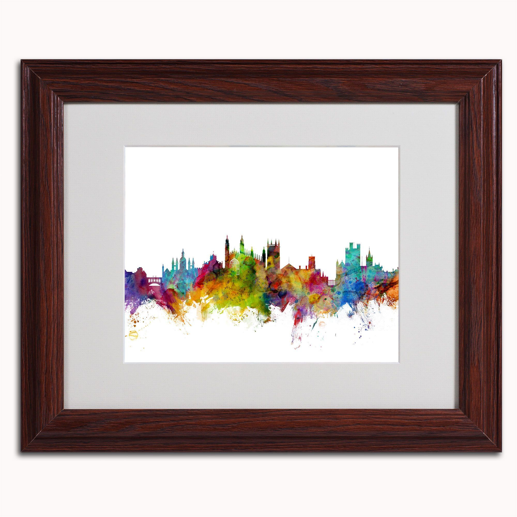 'Cambridge England Skyline' by Michael Tompsett Framed Graphic Art