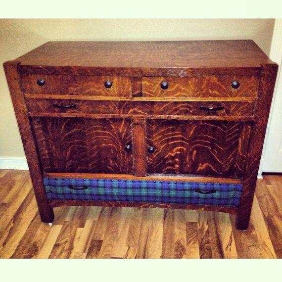 Vintage Refinished Buffet Cabinet Hutch Home Decor Storage Plaid ...