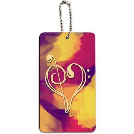 Music Heart Love Treble Bass Clef Notes Staff Pink Splash Wood ID Tag Luggage, Multicolor