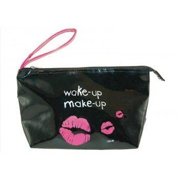 """Trousse Vinyle """"Wake up Make up"""" noire  #fetedesmeres #cadeau #maman"""