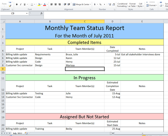 Get Project Status Report Template Excel ExcelTemple – Simple Status Report Template