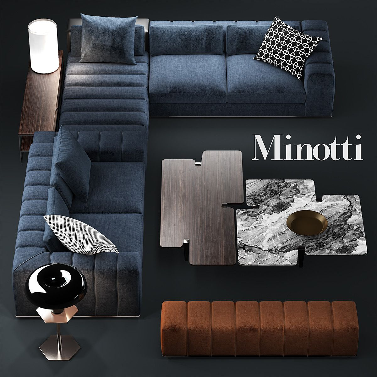 3d Sofa Minotti Freeman Model Furniture Living Room