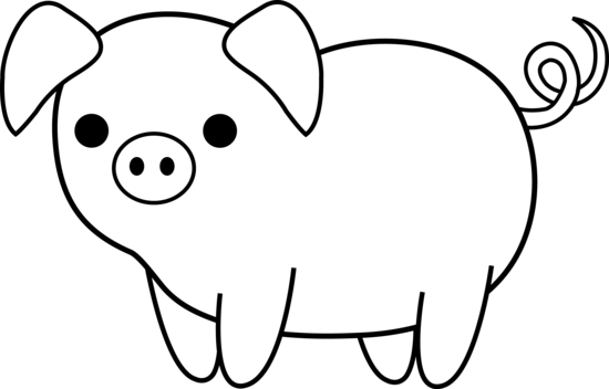 Cute Colorable Piglet Free Clip Art Pig Painting Animal Stencil Easy Drawings