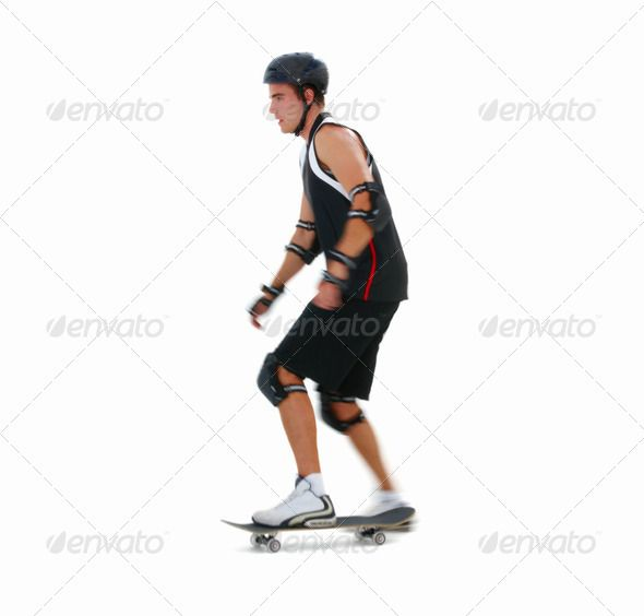 Young Man Skating On A Skateboard On  White Background