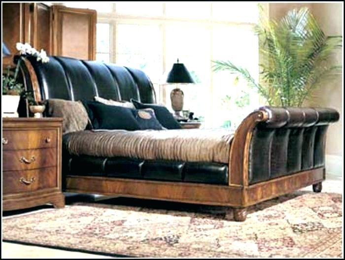 Leather Sleigh Bed Leather Sleigh Bed King Black Size Brown