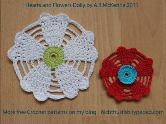 Lovely Crochet Heart Doilies Free Patterns Great for Valentine\'s Day ...