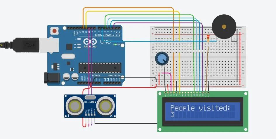 Bi Directional Visitor Counter Using Single Ultrasonic Sensor With Lcd On Tinkercad Visitor Counter Sensor Ultrasonic