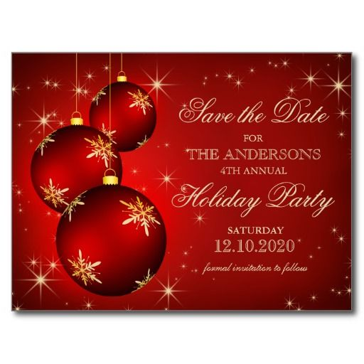 Christmas Or Holiday Party Save The Date Postcard Engagement Wedding Shower Reception