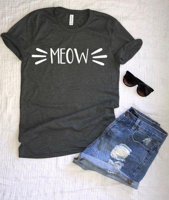 bbd48feb Meow short sleeve cat Shirt, Cat Shirt, Halloween Shirt, Womens Tshirt, Womens  Cat Tshirt, Halloween