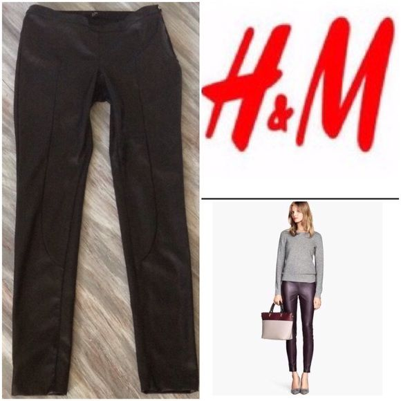 bcc0e92f26aa H&M Faux Leather Side Zip Skinny Pants Sexy Black panel faux leather pants  with side zipper