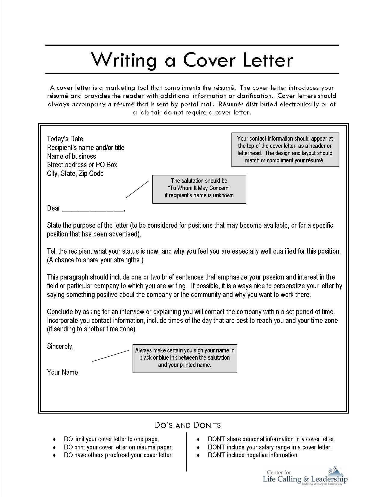 how do write a cover letters