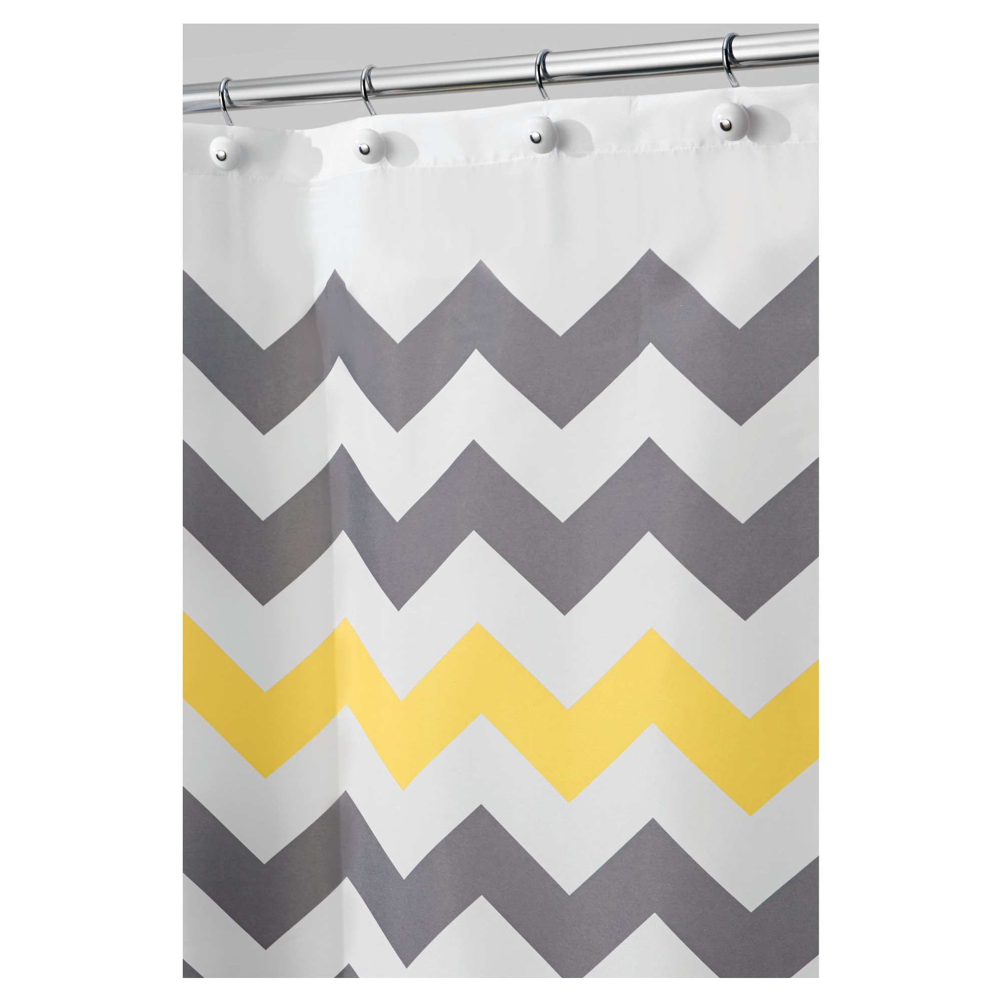 Shower Curtain Polyester Chevron X Wide 108 X72 Gray Yellow Interdesign Shower Curtain Polyester Grey Curtains