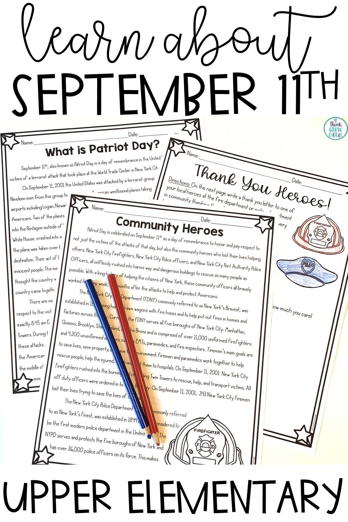 Patriot Day September 11th Activities Social Studies Elementary Patriots Day Reading Comprehension Activities [ 1800 x 1200 Pixel ]
